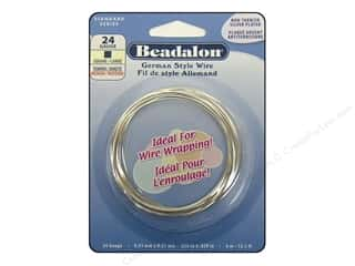 beading & jewelry making supplies: Beadalon German Style Wire 24ga Square Silver Plated 13.1 ft.