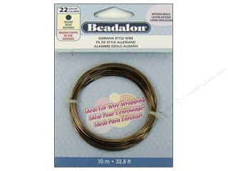 Beadalon German Style Wire 22 ga Round Antique Brass 32.8 ft.