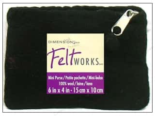 Dimensions 100% Wool Blanks Feltworks Purse Mini Black