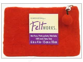 Fabric Bags / Purses: Dimensions 100% Wool Blanks Feltworks Purse Mini Red
