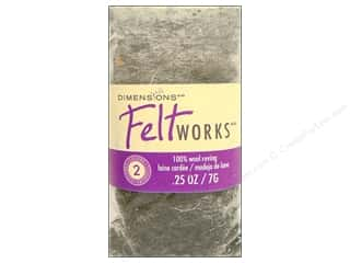 wool yarn: Dimensions Feltworks 100% Wool Roving Pebble/Granite