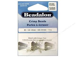 beading & jewelry making supplies: Beadalon Crimp Beads 3 mm Silver Plated .05 oz.