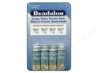beading & jewelry making supplies: Beadalon Crimp Tube Value Pack Size 1 - 4 Silver Plated 600 pc.
