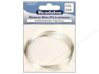 beading & jewelry making supplies: Beadalon Memory Wire Oval Bracelet .35 oz. Silver