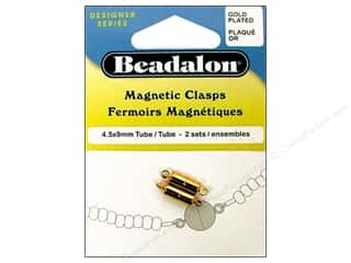beading & jewelry making supplies: Beadalon Magnetic Clasps Tube 4 1/2 x 9mm Gold 2pc