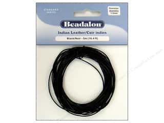 beading & jewelry making supplies: Beadalon Indian Leather Cord 1.0 mm (.039 in.) Black 5 m (16.4 ft.)