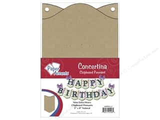 Paper Accents Chipboard Pennants 5 x 8 in. Concertina 9 pc. Kraft