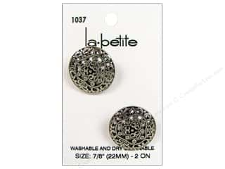 sewing & quilting: LaPetite Shank Buttons 7/8 in. Antique Silver #1037 2pc.