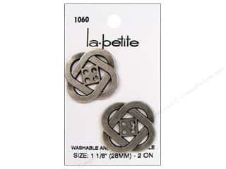 LaPetite 4 Hole Buttons 1 1/8 in.  Antique Silver #1060 2 pc.