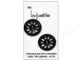 sewing & quilting: LaPetite 2 Hole Buttons 7/8 in. Black #796 2pc.