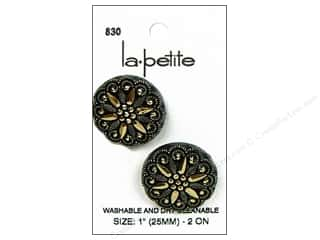 Buttons: LaPetite Shank Buttons 1 in. Black/Gold #830 2pc.