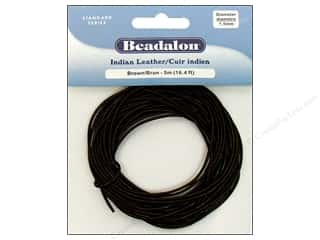 Beadalon Greek Leather Cording : Beadalon Indian Leather Cord 1.5 mm (.059 in.) Brown 5 m (16.4 ft.)