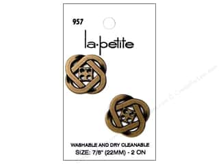 sewing & quilting: LaPetite 4 Hole Buttons 7/8 in. Antique Gold #957 2pc.