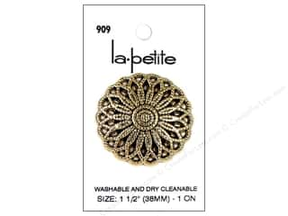 sewing & quilting: LaPetite Buttons 1 1/2 in. Antique Gold #909 1pc.
