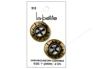 LaPetite 4 Hole Buttons 1 in. Antique Gold #913 2 pc.