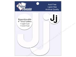 "craft & hobbies: Paper Accents Adhesive Vinyl 4 in. Letters ""Jj"" 2 pc. Removable White"