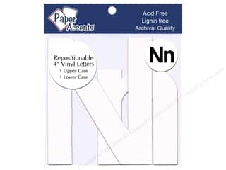 "Paper Accents Adhesive Vinyl 4 in. Letters ""Nn"" 2 pc. Removable White"
