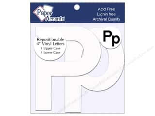 "craft & hobbies: Paper Accents Adhesive Vinyl 4 in. Letters ""Pp"" 2 pc. Removable White"