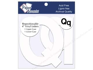 "scrapbooking & paper crafts: Paper Accents Adhesive Vinyl 4 in. Letters ""Qq"" 2 pc. Removable White"