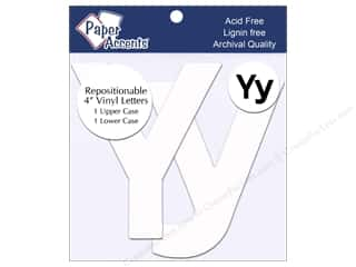 "stickers: Paper Accents Adhesive Vinyl 4 in. Letters ""Yy"" 2 pc. Removable White"