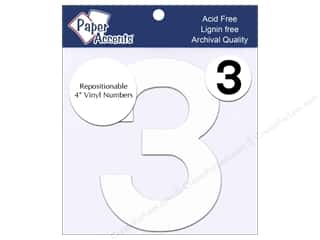"stickers: Paper Accents Adhesive Vinyl 4 in. Numbers ""3"" 2 pc. Removable White"