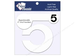 "stickers: Paper Accents Adhesive Vinyl 4 in. Numbers ""5"" 2 pc. Removable White"