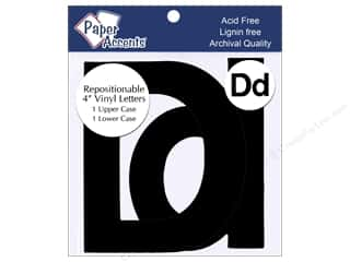 "stickers: Paper Accents Adhesive Vinyl 4 in. Letters ""Dd"" 2 pc. Removable Black"