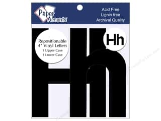 "stickers: Paper Accents Adhesive Vinyl 4 in. Letters ""Hh"" 2 pc. Removable Black"