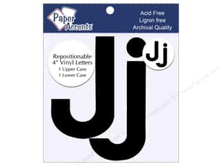 "craft & hobbies: Paper Accents Adhesive Vinyl 4 in. Letters ""Jj"" 2 pc. Removable Black"