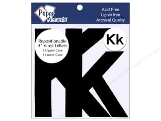 "stickers: Paper Accents Adhesive Vinyl 4 in. Letters ""Kk"" 2 pc. Removable Black"