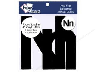 "scrapbooking & paper crafts: Paper Accents Adhesive Vinyl 4 in. Letters ""Nn"" 2 pc. Removable Black"