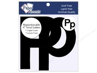 "Paper Accents Adhesive Vinyl 4 in. Letters ""Pp"" 2 pc. Removable Black"