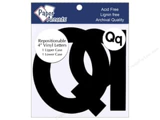 "Clearance: Paper Accents Adhesive Vinyl 4 in. Letters ""Qq"" 2 pc. Removable Black"