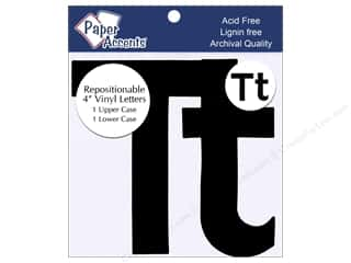 "scrapbooking & paper crafts: Paper Accents Adhesive Vinyl 4 in. Letters ""Tt"" 2 pc. Removable Black"