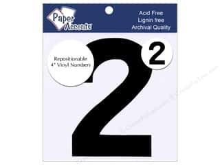 "craft & hobbies: Paper Accents Adhesive Vinyl 4 in. Numbers ""2"" 2 pc. Removable Black"