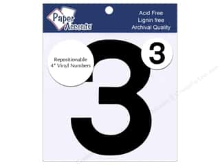 "craft sticks: Paper Accents Adhesive Vinyl 4 in. Numbers ""3"" 2 pc. Removable Black"