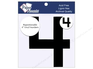 "craft sticks: Paper Accents Adhesive Vinyl 4 in. Numbers ""4"" 2 pc. Removable Black"