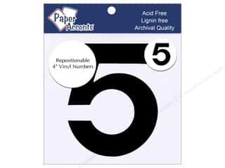 "craft sticks: Paper Accents Adhesive Vinyl 4 in. Numbers ""5"" 2 pc. Removable Black"