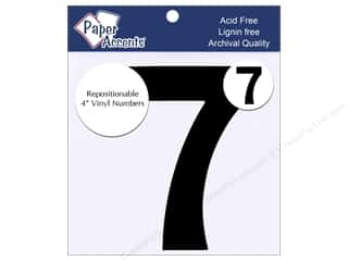 "craft sticks: Paper Accents Adhesive Vinyl 4 in. Numbers ""7"" 2 pc. Removable Black"