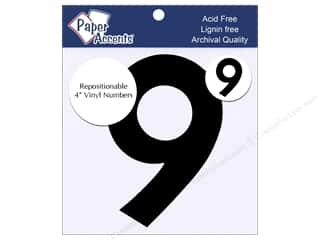 "craft & hobbies: Paper Accents Adhesive Vinyl 4 in. Numbers ""9"" 2 pc. Removable Black"