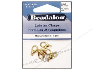 beading & jewelry making supplies: Beadalon Clasp Lobster 5 pc. Medium Gold Plated