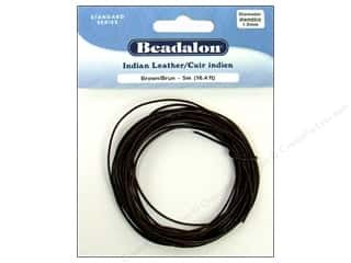 beading & jewelry making supplies: Beadalon Indian Leather Cord 1.0 mm (.039 in.) Brown 5 m (16.4 ft.)