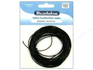 beading & jewelry making supplies: Beadalon Indian Leather Cord 1.5 mm (.059 in.) Black 5 m (16.4 ft.)