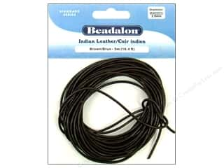 Beadalon Greek Leather Cording : Beadalon Indian Leather Cord 2.0 mm (.079 in.) Brown 5 m (16.4 ft.)