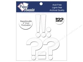 "craft & hobbies: Paper Accents Adhesive Vinyl 4 in. Punctuation ""!?-."" 8 pc. Removable White"