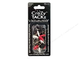 Crazy Tackz Tack With A Hook Round Black/Red/White 12 pc