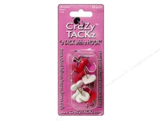 Crazy Tackz Tack With A Hook Heart Red/White/Pink 12  pc