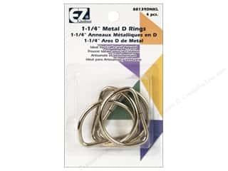 "1"" D rings: EZ Quilting D-Rings 1 1/4 in. Nickel 4 pc."