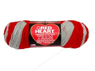 striping yarn: Red Heart Team Spirit Yarn #0988 Red/Grey 244 yd.