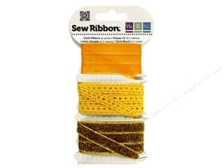 Clearance We R Memory Sew Ribbon Ribbon: We R Memory Sew Ribbon 9yd Assorted Gold